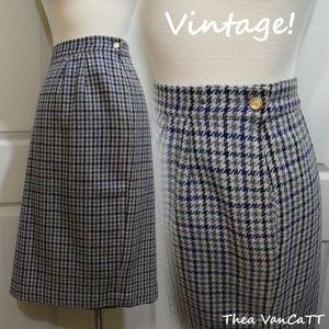 LESLIE FAY - Vintage! Plaid / Houndstooth Skirt!<3